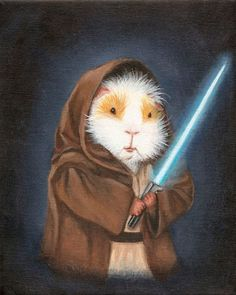 Guinea Pig Jedi Cute Guinea Pig Art Print by WhenGuineaPigsFly Star Wars Cute, Star Wars Fan Art, Guinea Pig Breeding, Pet Guinea Pigs, Pig Breeds, Funny Animals, Cute Animals, Guniea Pig, Pig Art
