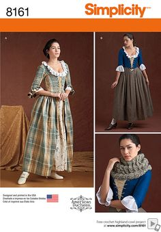 Simplicity Pattern 8161 Misses' Century Costumes outlander 18th Century Dress, 18th Century Costume, 18th Century Clothing, 19th Century, New Look Patterns, Simplicity Sewing Patterns, Pattern Sewing, Cosplay Dress, Costume Dress