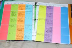 """Post-it Note Lesson Planner 2012-2013 - Coming Up Roses...good way for keeping track of """"natural/unplanned"""" learning activities"""