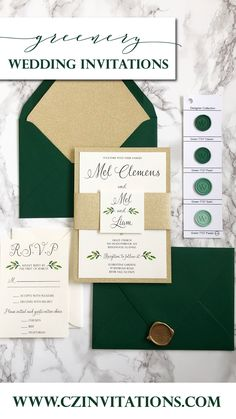 Green and Gold wedding invitation! Take this simple and classic invitation up a notch with a gold glitter mat and the glitter envelope liner! Add a unique touch with a personalized wax seal. Gold Glitter Wedding, Glitter Wedding Invitations, Unique Invitations, Wedding Stationery, Spring Wedding, Garden Wedding, Watercolor Wedding, Floral Wedding