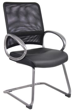 Boss Office Products B6409 Boss Mesh Back W/ Pewter Finish Guest Chair