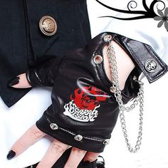 Black Faux Leather Studded Skull Steampunk Biker Fingerless Gloves SKU-71102032