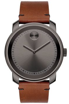 Minimalists take note: The Movado Bold Watch—with its unadorned gunmetal dial and brown Colorado bullhide strap—might just be for you.