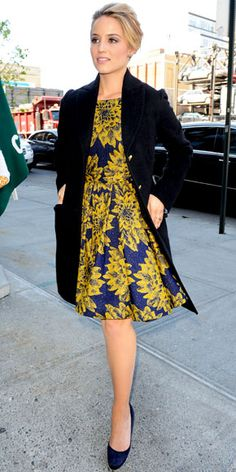 The actress dined after an appearance on The View in a floral Alice + Olivia dress, pave Kara Ackerman Designs jewelry and navy Jimmy Choo heels.