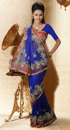 Tranquil Royal Blue Net Embroidered #Saree
