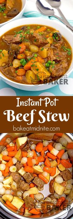 """Get that """"all day"""" beef stew flavor in less than 1 hour with your Instant Pot! (Slow Cooker Recipes All Day) Beef Recipes, Soup Recipes, Dinner Recipes, Cooking Recipes, Easy Recipes, Recipies, Dinner Ideas, Instant Pot Pressure Cooker, Pressure Cooker Recipes"""