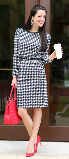 Belted houndstooth sheath cocktail dress with red patent leather pumps, red Ralph Lauren satchel, and silver accessories   Style Guide: What to Wear to a Fashion Show + 10 trendy outfit ideas that anyone can wear by fashion blogger Stephanie Ziajka from Diary of aDebutante