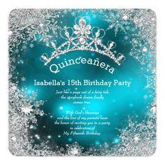Quinceanera 15th Winter Wonderland Silver Teal 5.25x5.25 Square Paper Invitation Card
