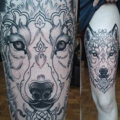 WIP Neotraditional wolf face tattoo by Alex M Krofchak at The Tattooed Arms, Lincoln, UK. Krofty.
