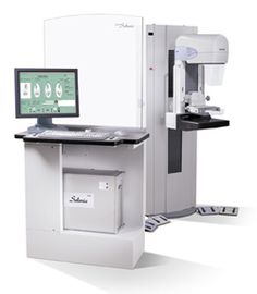 Hologic Breast Mammogram Machine. This one does not hurt at all. Does not compress the breasts like the older, yet still used machines. Is all digital