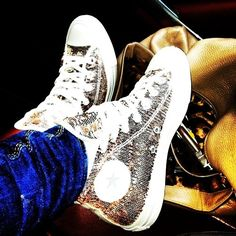 Bling Silver Converse High Tops Sequins