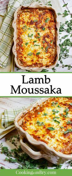 Easy Meat Recipes, Whole Food Recipes, Cooking Recipes, Diced Lamb Recipes, Greek Lamb Recipes, Lamb Mince Recipes, Delicious Recipes, Lamb Moussaka Recipe, Mousaka Recipe