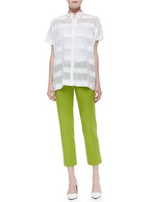 Salma+Short-Sleeve+Static+Blouse+&+Bleecker+Cropped+Pants+by+Lafayette+148+New+York+at+Neiman+Marcus.