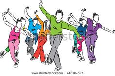 group of dancers fitness illustration