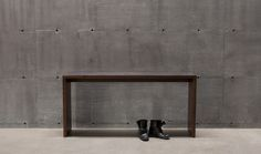 T 203 solid wood bench or coffee table in walnut with textured finish / T203 banc ou table à café en noyer texturé