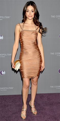 Emmy Rossum in blush Julien Macdonald dress, Jimmy Choo sandals, and Misela clutch