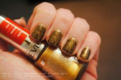 SensatioNail 'Espresso Bean' plus Revlon 'Golden' plus Bundle Monster plate BM-225