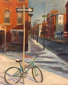 "Bicycles In Snow, 2017, oil on canvas, 20"" by 16"""