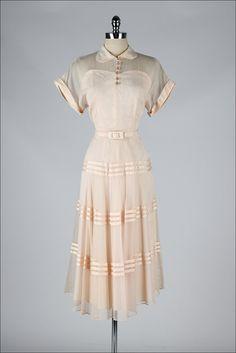vintage 1940s dress . blush pink wedding by millstreetvintage