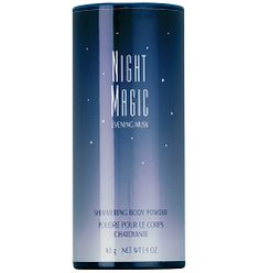 Avon: Night Magic Evening Musk Shimmering Body Powder.  Sexy Night Magic Evening Musk is a softly scented   powder that keeps you feeling fresh while it leaves a light shimmer to your skin anywhere you use it.  Avon offers many scented powders to coordinate with a favorite cologne. Find them all in my Avon store at http://darcadipane.avonrepresentative.com/