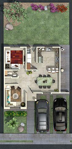 Plano de casa de 187m2 en dos pisos y 150m2 de terreno for Modelo de casa townhouse