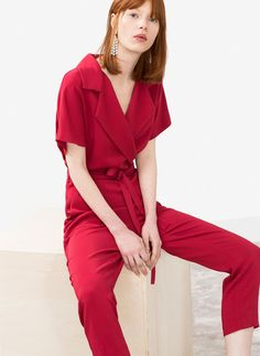 Uterqüe Spain Product Page - Ready to wear - See all - Red jumpsuit - 125