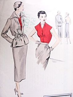 Striking 3 Pc Suit Pattern Vogue Special Design 4078 Halter Blouse Low Cut Back, Slim Skirt and Wing Collar Belted Jacket Bust 34 Vintage Sewing Pattern