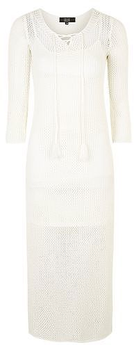Womens cream siena - lace-up knit midi dress by goldie from Topshop - £45 at ClothingByColour.com
