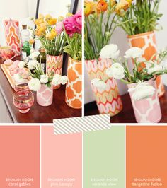 Paint Palette Inspiration: Coral, Pink, Mint, & Tangerine | Brunch at Saks/ Coral Gables Paint color - the 1st swatch. Thinking of repainting my vanity this shade. Love this color palette for our spare room.