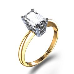 Delicate Emerald Cut Diamond Engagement Ring in Two Tone Gold
