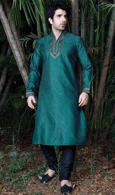 Blue Art Silk Fabric Kurta Pajama Price: Usa Dollar $85, British UK Pound £50, Euro63, Canada CA$92 , Indian Rs4590.