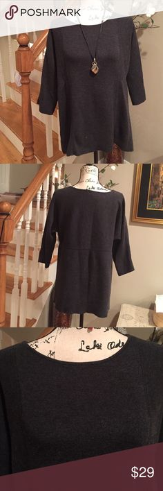 Chico's Charcoal gray 3/4 sleeve sweater Size 1 Chico's 3/4 sleeve charcoal gray cotton/ rayon/nylon/ spandex cozy sweater Chico's Size 1 fits the equivalent to a Med/ Large Chico's Sweaters