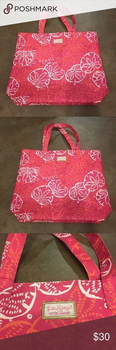 Lilly Pulitzer x Estée Lauder Tote Lilly Pulitzer x Estée Lauder Tote. Excellent condition. Perfect for the beach, class, running errands, or to add a pop of color and pattern to your look. No marks on inside or outside. Can fit a laptop and school books as well as much more. Lilly Pulitzer Bags Totes