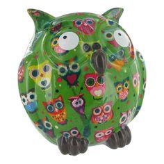 Pomme Pidou Owl Animal Money Bank - Green