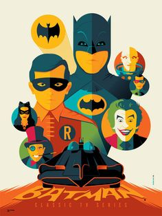 Batman Classic TV Series poster by Tom Whalen Batman Robin, Batman 1966, I Am Batman, Batman Art, Batman Chibi, Adam West Batman, Batman Stuff, Batman Figures, Tom Whalen