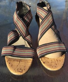 0586e5f2cefb Women s Size 9 M New York Transit multi colored Elastic Cork Heel Wedge  Shoes