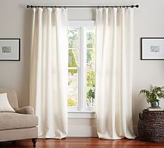 Find Belgian linen curtains from Pottery Barn and dress up your windows in style. Our collection features expertly crafted Belgian linen drapes and window panels. Drapes And Blinds, Sheer Drapes, Curtains Living, Velvet Drapes, Black Out Curtains Bedroom, Dining Room Curtains, Window Drapes, Window Coverings, Ideas