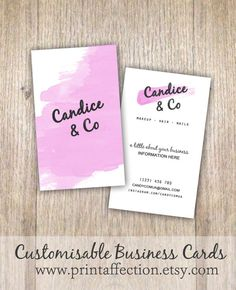 Watercolour / Make up Artist /  Business Card / Instant Download / Stationary / Printables