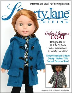 Oxford Square Coat for WellieWishers and Hearts For Hearts Girls Dolls