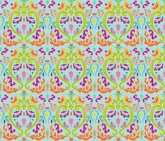 Damask_Bold_Turquoise fabric by ©_lana_gordon_rast_ on Spoonflower - custom fabric