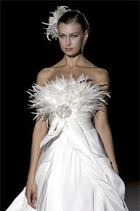 Feather wedding dress. We offer a wide variety of feathers at www.tonyhill.net