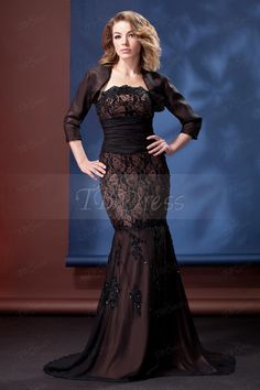 Fabulous Lace Sequins Trumpet/Mermaid Strapless Floor-length Daria's Mother of the Bride Dress