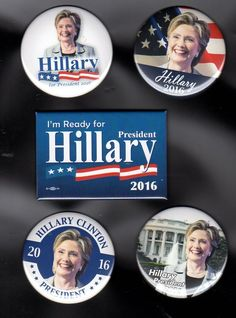 Just released! Five different Hillary Clinton 2016 campaign buttons. Show your support!