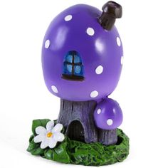 GORGEOUS NEW PURPLE FAIRY MUSHROOM/TOADSTOOL HOUSE INCENSE CONE BURNER-GIFT BOX