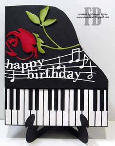 StampOwl's Studio: Piano Happy Birthday created by Frances Byrne using Piano Border - Memory Box; Happy Birthday Piano, Happy Birthday Wishes, Birthday Greetings, Birthday Cards, Fancy Fold Cards, Folded Cards, Xmas Cards, Diy Cards, Musical Cards