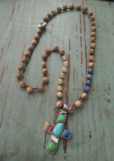 Colorful Sterling silver cross crochet necklace De by slashKnots