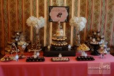 Mini french bakery themed party dessert table.