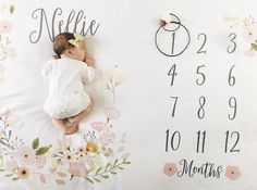 Baby Month Milestone Blanket- Blossom - Girl - Personalized Baby Blanket - Track Growth and Age - New Mom Baby Shower Gift Mama Baby, Mom And Baby, Monthly Baby Photos, Baby Monthly Milestones, Monthly Pictures, Personalized Baby Blankets, Personalized Baby Gifts, Baby Monat Für Monat, Baby Milestone Blanket