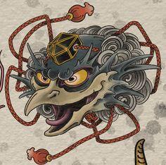Tengu Tattoo, Traditional Japanese Tattoo Designs, Japanese Mask Tattoo, Old School Tattoo Designs, Japanese Mythology, Tatuagem Old School, Asian Tattoos, Oriental Tattoo, Irezumi