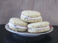These are AMAZING!! Lavender cookies with blueberry cream cheese via @JacindaBritton Tip Top Cake Shoppe